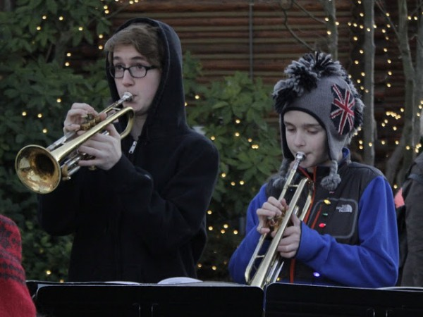 Students from Maplewood K-8 School's Jazz Band peform before the tree lighting.