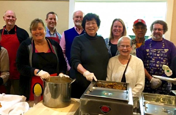 Local elected officials serve a pre-Thanksgiving meal at Annie's Kitchen in Edmonds.