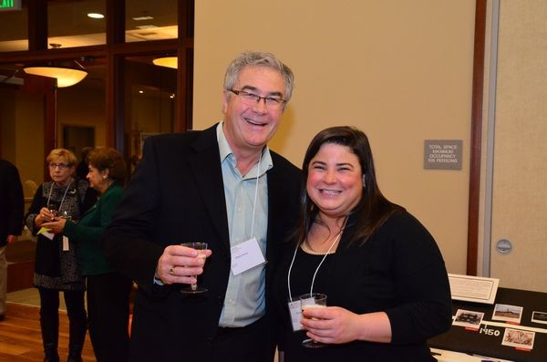 Wayne Purser and Edmonds Museum Director Katie Kelly share a laugh