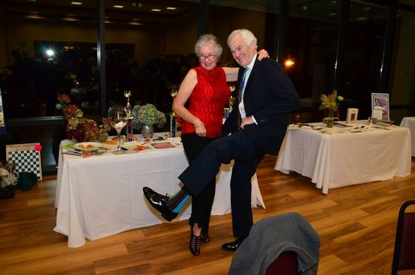 Linda and George Murray kick up their heels after a fun evening of food, auctions and entertainment.