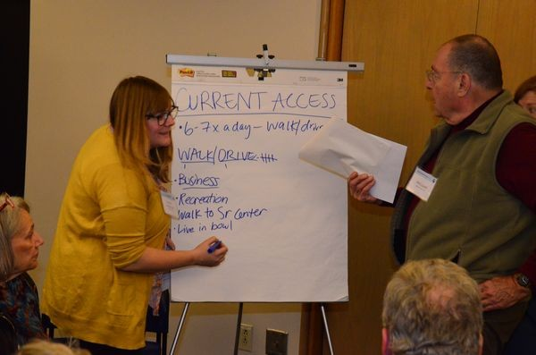 A group recorder writes down ideas on a flip chart. The consultants are keeping and recording all flip chart pages as part of the effort to understand existing conditions and identify alternatives. At right is Phil Lovell, part of the Waterfront Access Study Team.