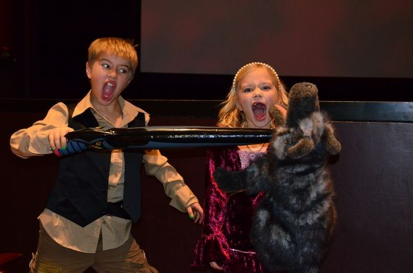 """Cooper Beyer protects his sister Lucy from a vicious ROUS (rodent of unusual size), which fans of the movie will recognize as a denizen of the Fire Swamp. In town from Yakima to celebrate the holidays with family, Cooper and Lucy are huge Princess Bride fans. """"We own the film!"""" Cooper exclaimed."""