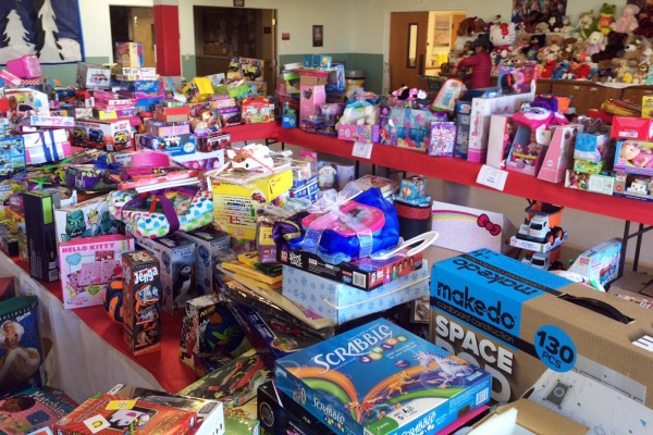 Some of the literally hundreds of donated new and slightly used toys gathered by the church for distribution during Saturday's Toy Shop event.