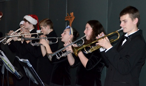 EWHS jazz musicians in the holiday spirit.