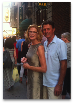 Rita Ireland and her husband before a Broadway show.