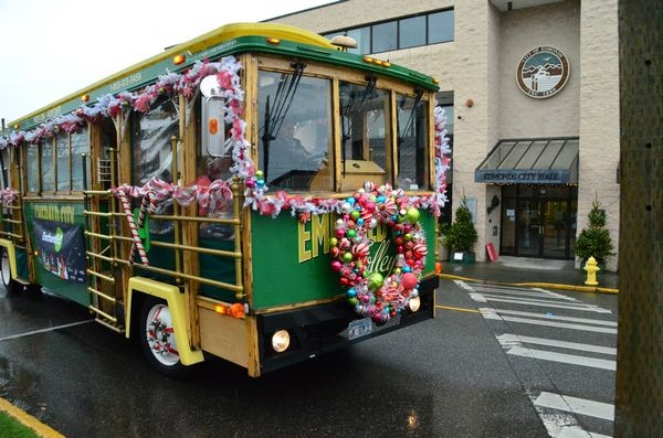 The Holiday Trolley makes its rounds in front of City Hall.