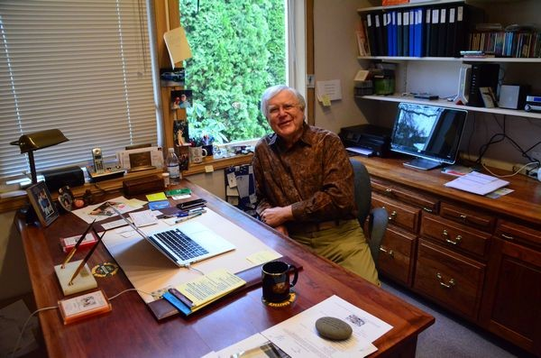 "Bill Taylor at his Edmonds home office desk, ""ground zero"" for the SE Asia Foundation."