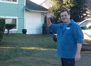 Jeff Stilwell doorbelling. (Photo courtesy Stilwell campaign)