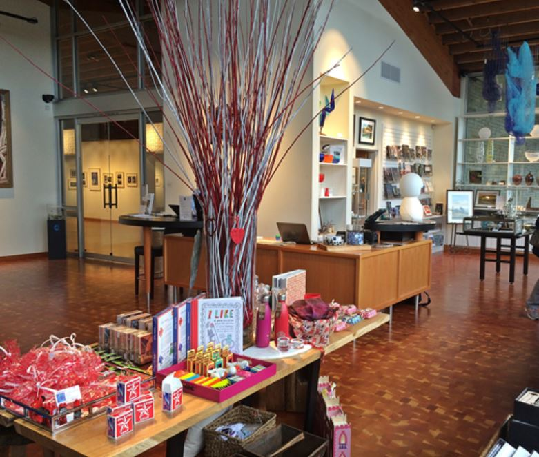 Cascadia Art Museum gift shop is ready for Valentine's Day shoppers. (Photos by Nate Gerberding).