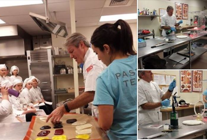 Chef visits EdCC bakery program. (Photo from EdCC Facebook page).
