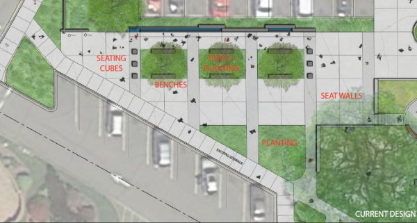 The revised design for the Veterans Plaza seating area, located outside the Public Safety Complex building.