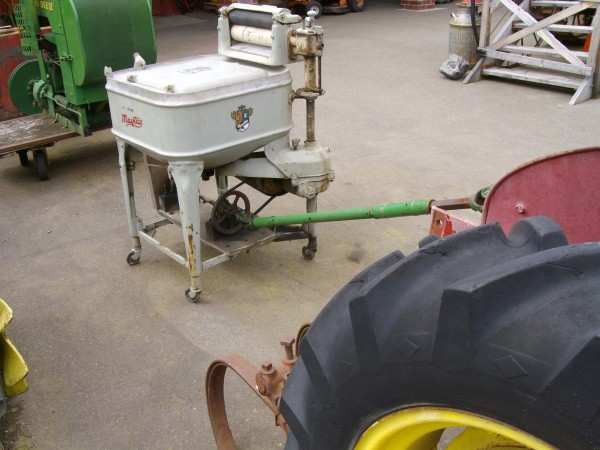 A tractor-powered washing machine.