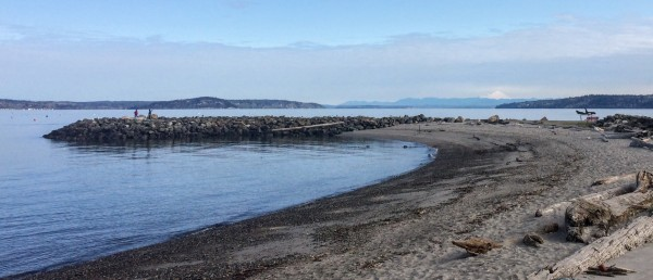 Analyzing the likely impacts of sea-level rise upon the Edmonds shoreline will be among the projects undertaken by Western Washington University students starting this fall. (Photo by Eric Sonett)