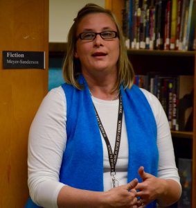 Scriber Lake Principal Andrea Hillman addresses the group.
