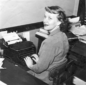 Ruth Wippel, behind the typewriter in 1955.