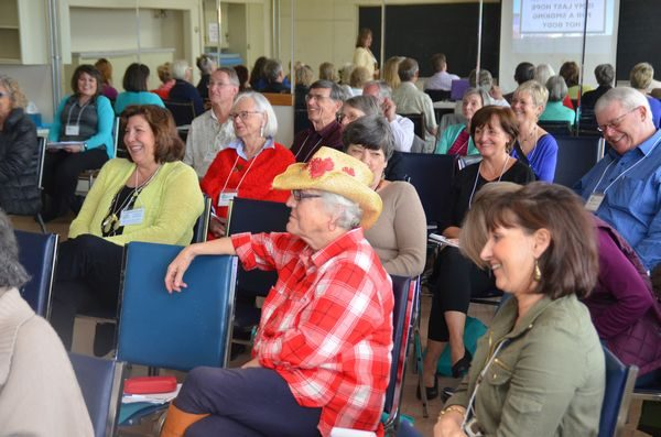 """Participants in the """"Aging is a Laughing Matter"""" session clearly enjoyed themselves. (Photo by Larry Vogel)"""