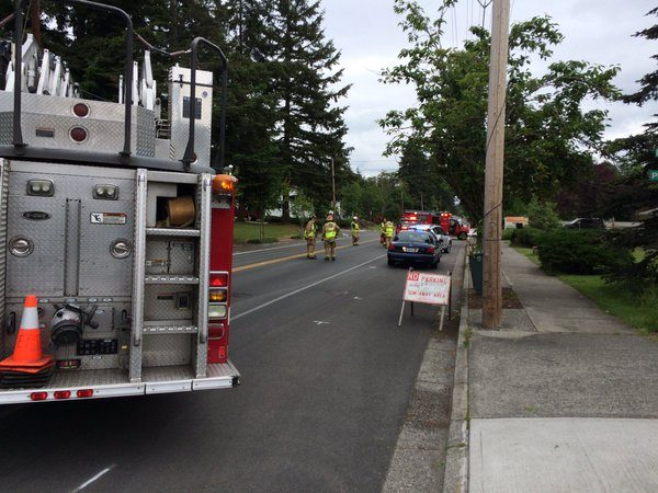 Emergency crews at the scene of Monday morning's collision. (Photo courtesy Edmonds police)