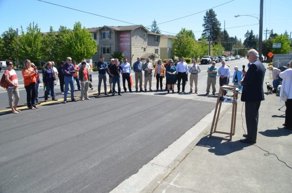 About 30 people gathered to celebrate the project's completion.