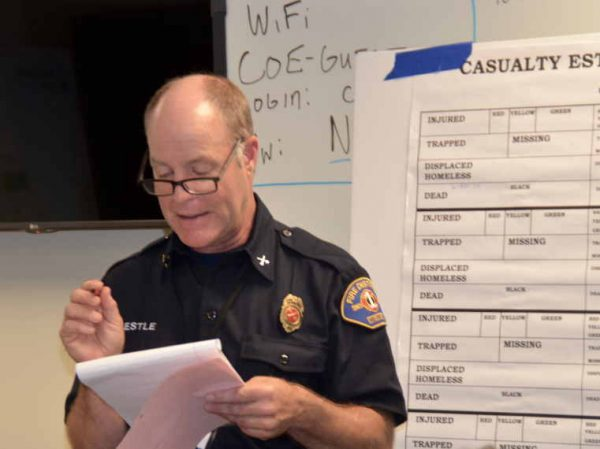 Fire Battalion Chief Gary Kestle goes over priorities for first responders.