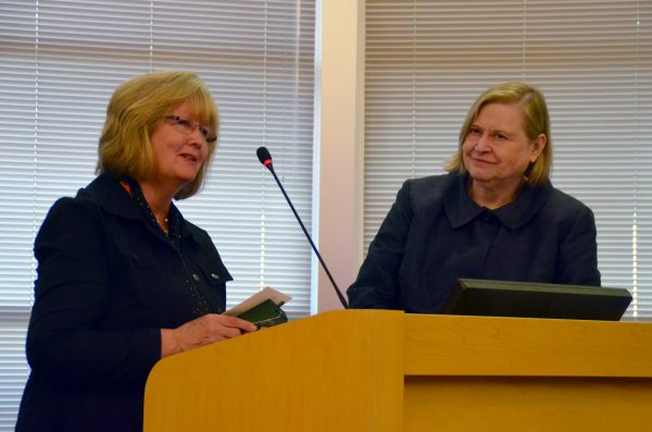 """Edmonds City Council President Kristiana Johnson commended former City Clerk Sandy Chase for her ongoing efforts to assist the City Council by coming back for part-time assignments, even though Chase officially retired from her job in 2013. """"You have repeatedly gone beyond the call in your duties, and for that this council is grateful."""" Johnson said."""