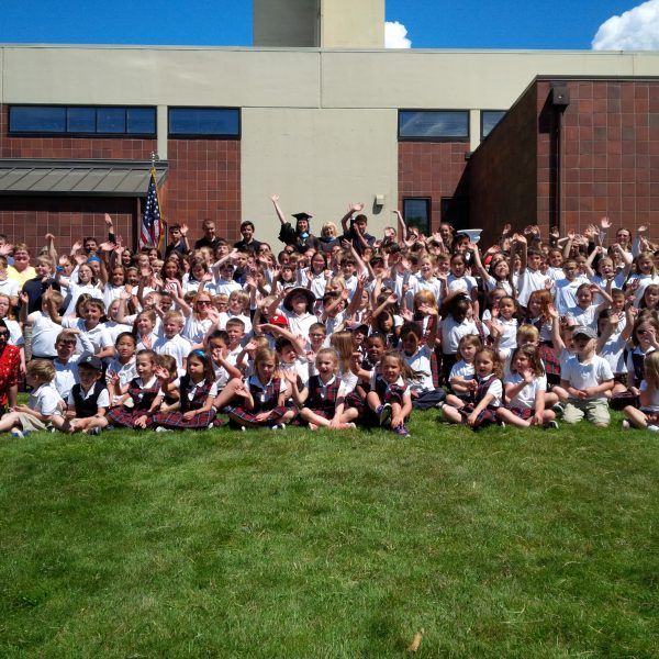 Holy Rosary held its Closing Ceremonies today to celebrate the final full day of school and kick off summer. Here's a group shot of the kids celebrating at the end of the day, with Principal Sue Venable in back, top middle.