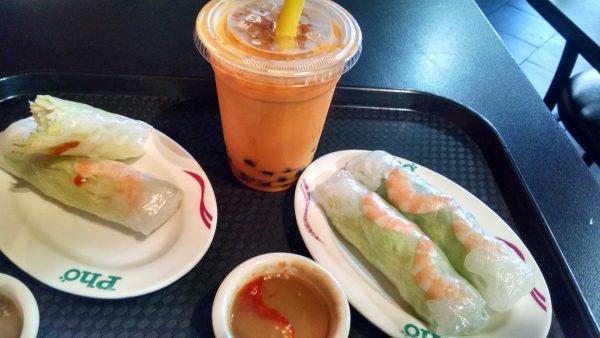 Pho Tai Rolls and Thai Tea at H Mart food court.