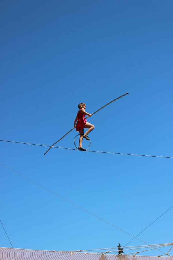 KaytElise Hawley, 14, walks the hoop on the high wire.