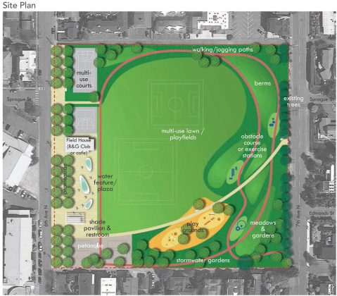 Crowd gathers for unveiling of two Civic Field designs ...