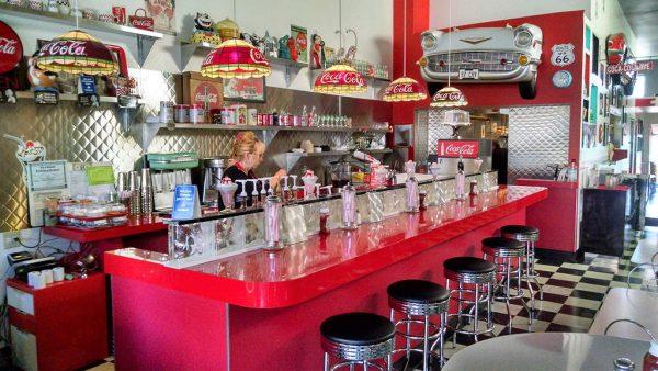 The soda bar.