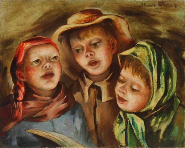 """""""Carolers"""" ca. 1938. Oil on canvas, by Peggy Strong from the collection of Bibbits Strong Brown. This holiday season's CAM exhibit will include greeting cards by artist Peggy Strong."""