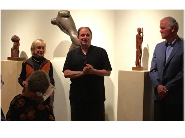 Sister to artist Peggy Strong, Jean Walkinshaw (left) is introduced by David F. Martin as Lindsey Echelbarger looks on.