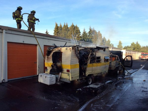 Firefighters at the scene of the trailer fire in Edmonds Sunday night. (Photo courtesy Lynnwood Fire Department)
