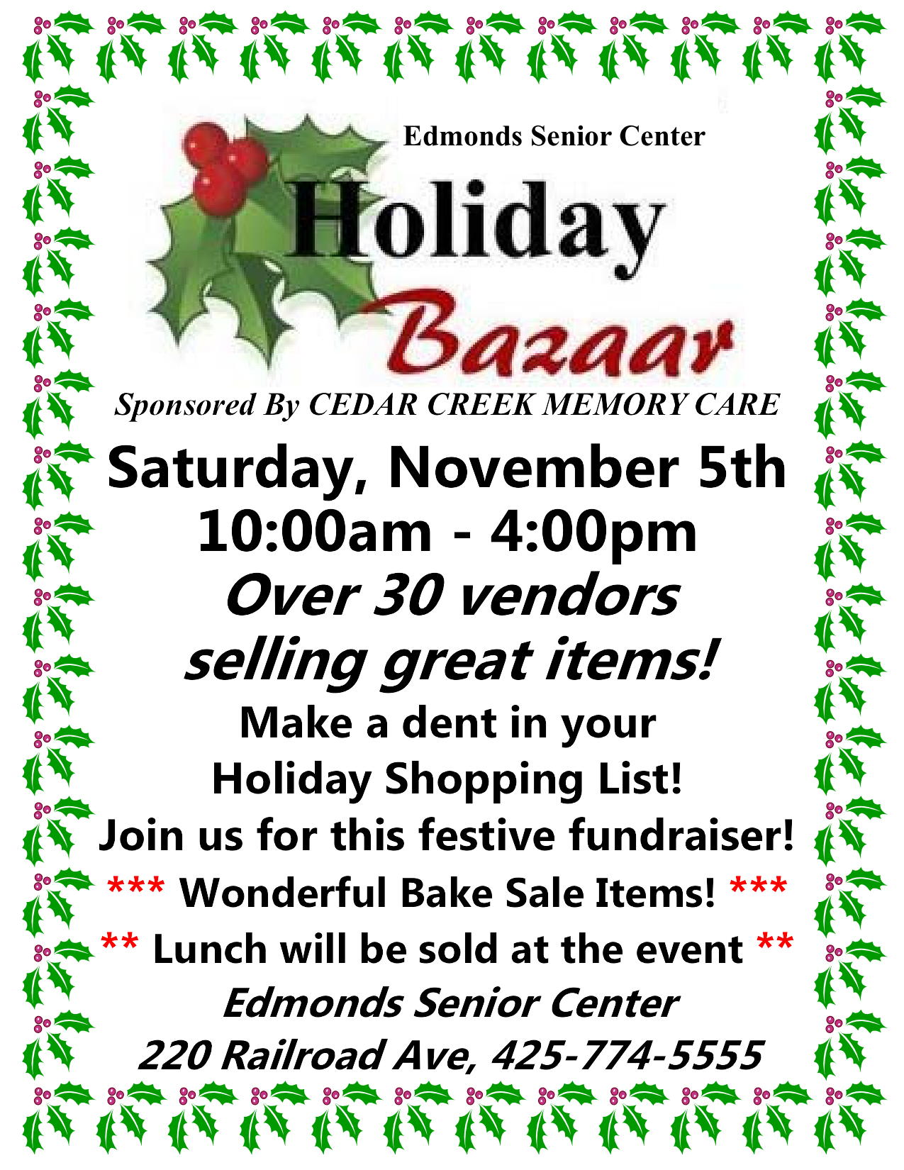 Columns For Sale >> Edmonds Senior Center holiday bazaar set for Nov. 5 - My ...