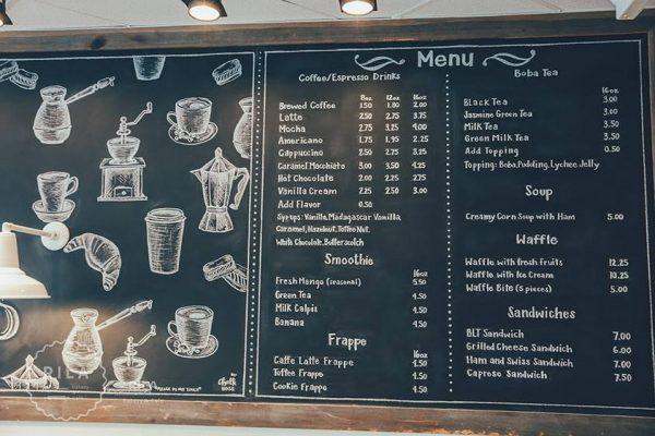 Rila's extensive menu.