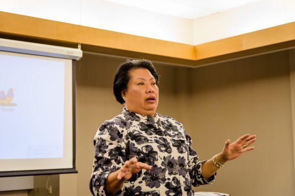 Van Dinh-Kuno speaks at the forum Wedneday night.