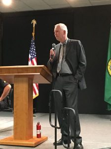 "Edmonds Police Chief Al Compaan talked about the connection between addiction and property crimes, saying that ""we're dealing with this on an unprecedented level."""