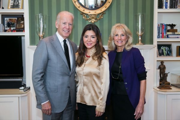 From left, U.S. Vice President Joe Biden, Edmonds CC Board of Trustees member Emily Yim, and Second Lady Dr. Jill Biden at the White House Community College Convening on Oct. 26 in Washington, D.C. Yim is also chair-elect for the national Association of Community College Trustees Board.