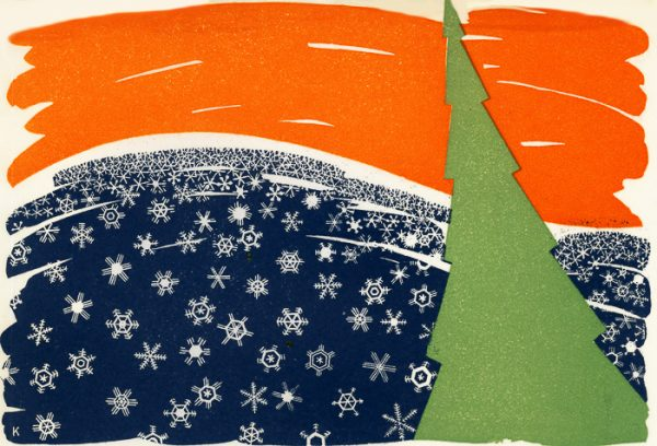 William J.C. Klamm (1888-1976), Christmas, 1950. Relief print/wood engraving