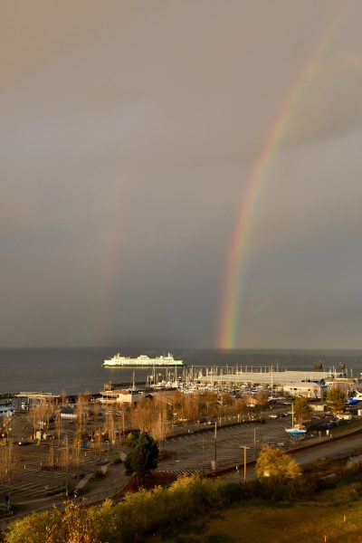 From Julie Wiese, another viewpoint of Monday afternoon's rainbow, taken from Point Edwards looking north.