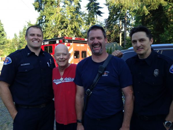 Dan Potts of Edmonds with members of the Fire Statio 20 crew.