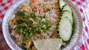 Crab-fried rice.