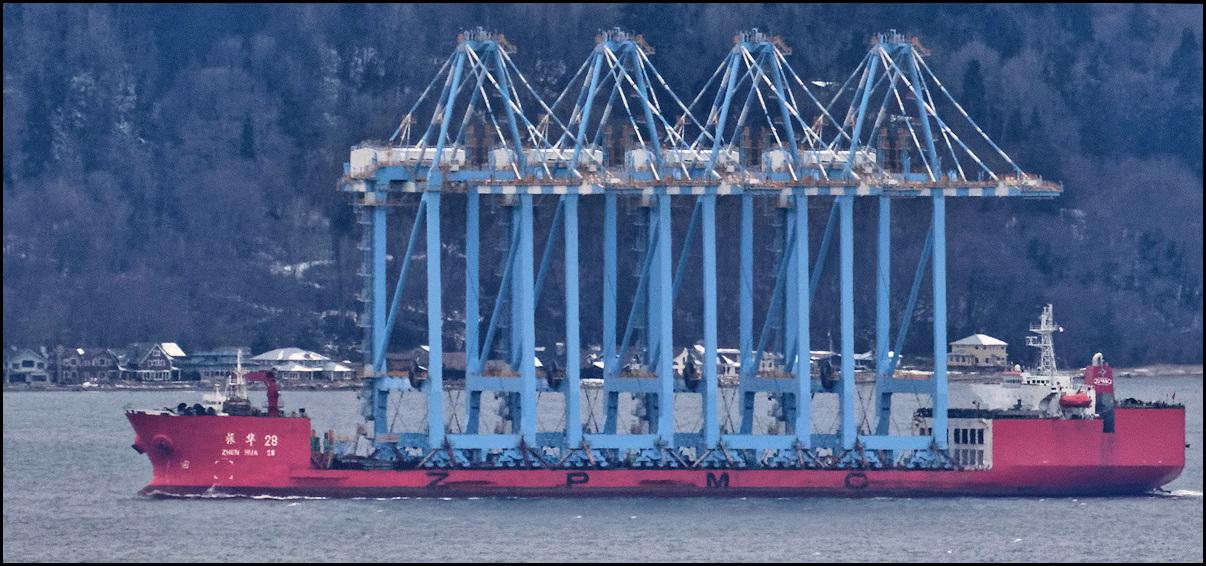 Scene in Edmonds: Cranes headed to Tacoma - My Edmonds News