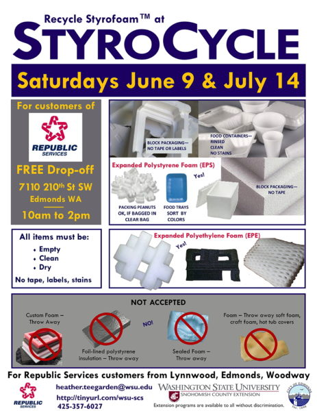 Reminder Recycle Your Styrofoam At These Two Events In Edmonds My Edmonds News