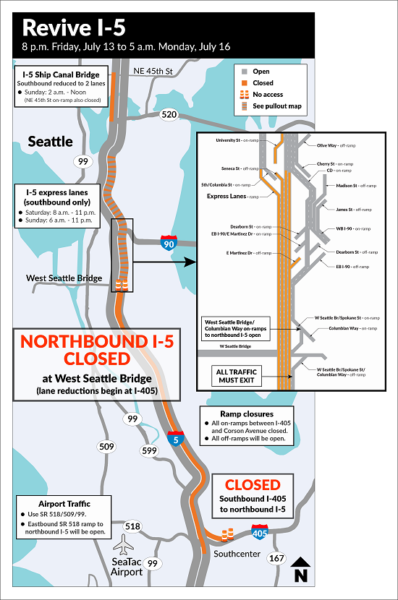 I5 Traffic Map.Revive I 5 Returns Northbound I 5 Closed All Weekend In Seattle