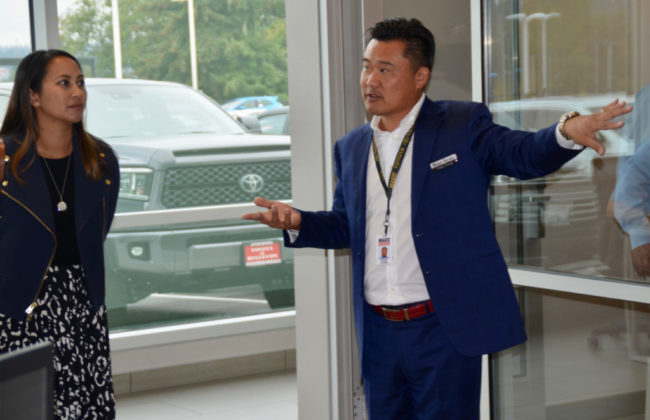Magic Toyota General Manager Peter Chung gave tours of the remodeled dealership prior to the ribbon cutting