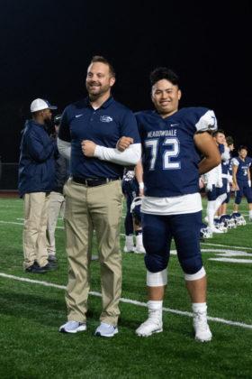 Coach Matt Leonard with guard Jending Leng.