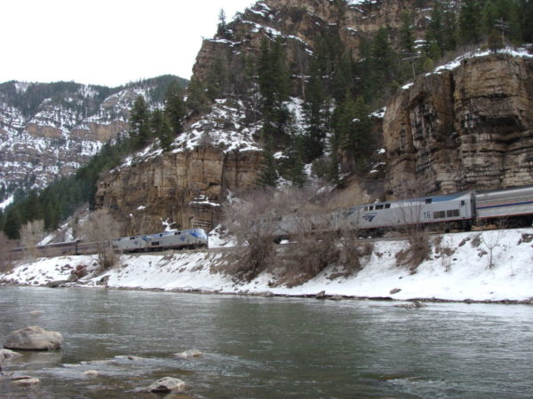 The Zephyr eastbound and westbound trains meet in Glenwood Canyon. (Amtrak)