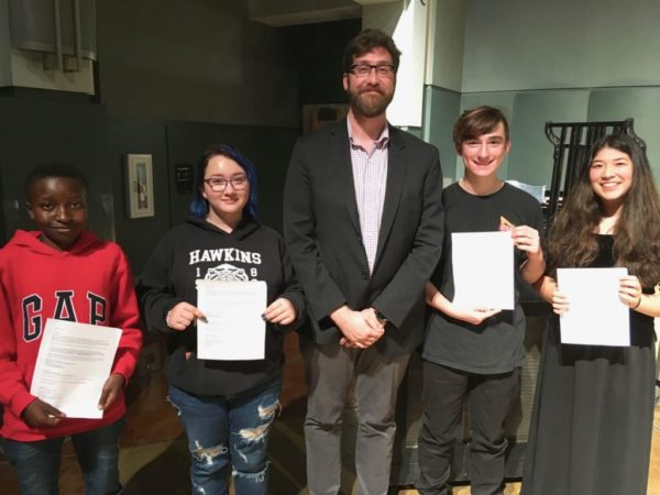 Kyle Humann with student winners