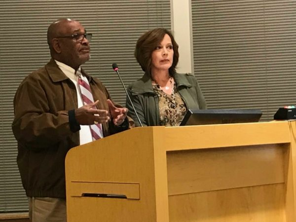 Diversity Commission Vice Chair Donnie Griffin and Chair Diana White speak to the Edmonds City Council Oct. 16