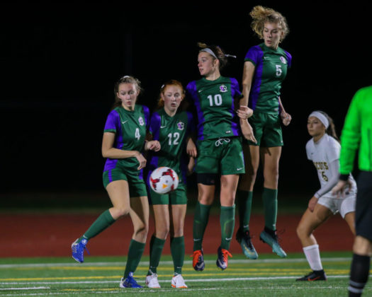 Shorecrest's Izzy Menning (not pictured) was able to bend the ball around Edmonds-Woodway's wall to get their second goal of the night